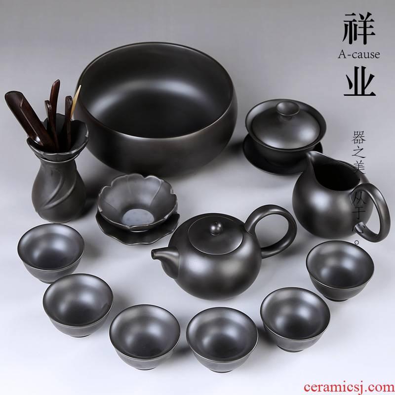 Auspicious industry violet arenaceous kung fu tea set household restoring ancient ways is a complete set of ceramic teapot, tea cup tea set gift boxes