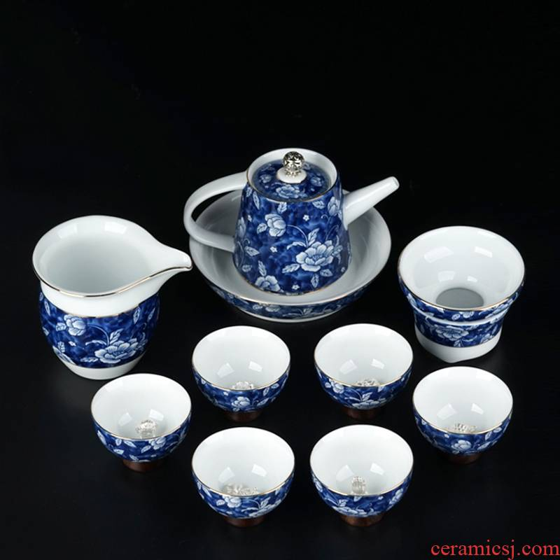 Xu ink kung fu tea set kit contracted household large set of blue and white porcelain of jingdezhen ceramic teapot is a complete set of tea cups