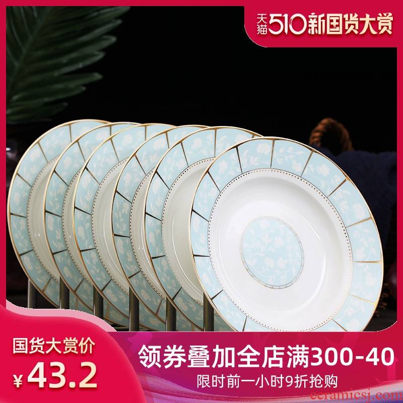 Jingdezhen ceramic dish home six creative contracted round food dishes dumplings plate of Chinese cutlery set