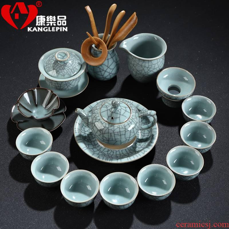Recreation with suit longquan celadon household kung fu tea tea set ceramic cups sharply stone tea tray was a complete set of the teapot