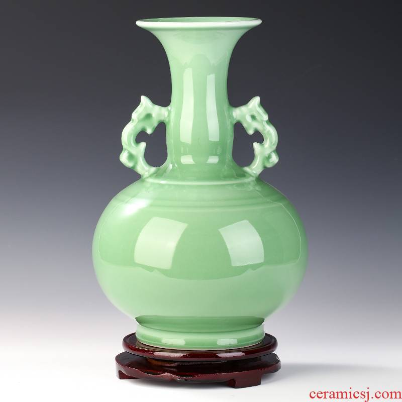 Jingdezhen ceramics by hand carving shadow blue glaze ears vases, flower arranging Chinese wine sitting room place decoration