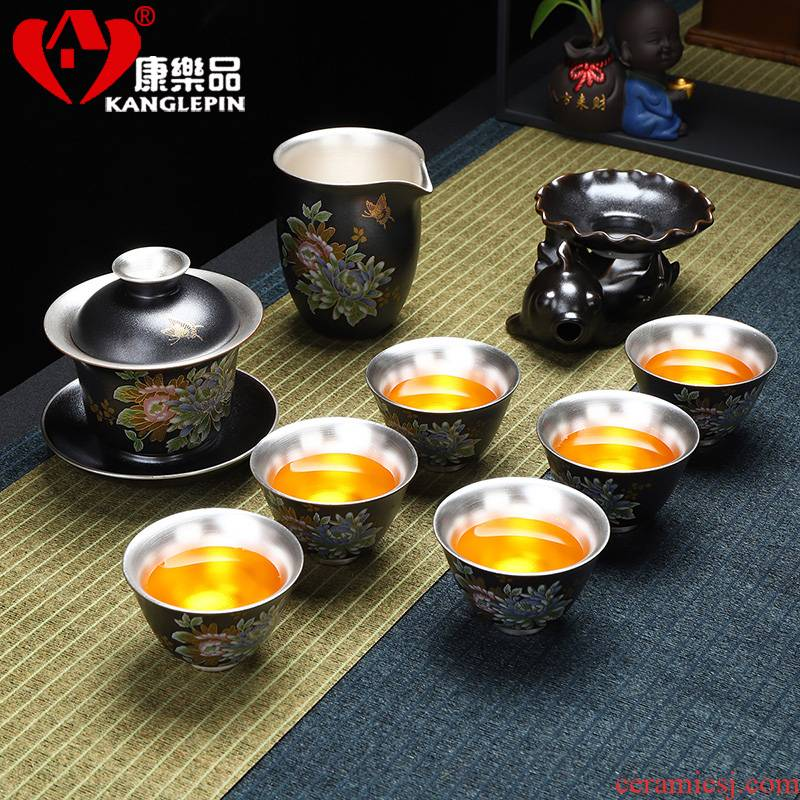 Recreation article 999 tasted silver gilding the tank of a complete set of ceramic tea set office silver kung fu tea cups