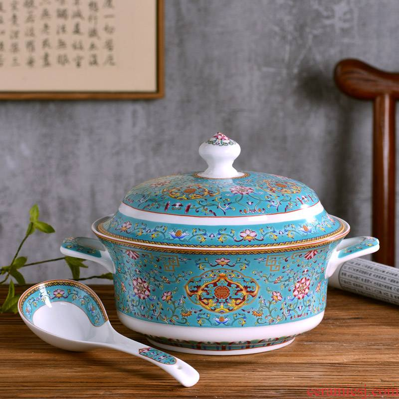 Jingdezhen ceramic big bowl of Chinese style household with cover with ear against the ceramic soup pot pot hot tableware large bowl
