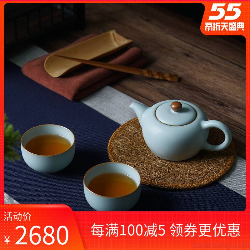 Your up travel tea set a pot of two cup teapot portable contracted gift Chinese jingdezhen ceramics by hand