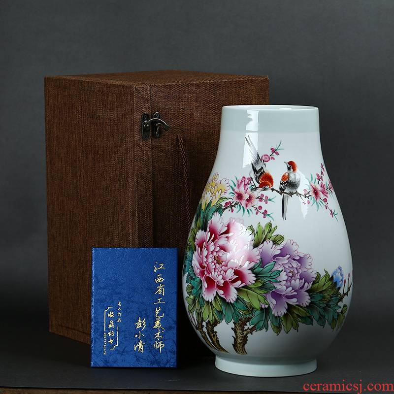 Jingdezhen ceramics by hand draw pastel peony flowers large bucket vase Chinese style living room a study place