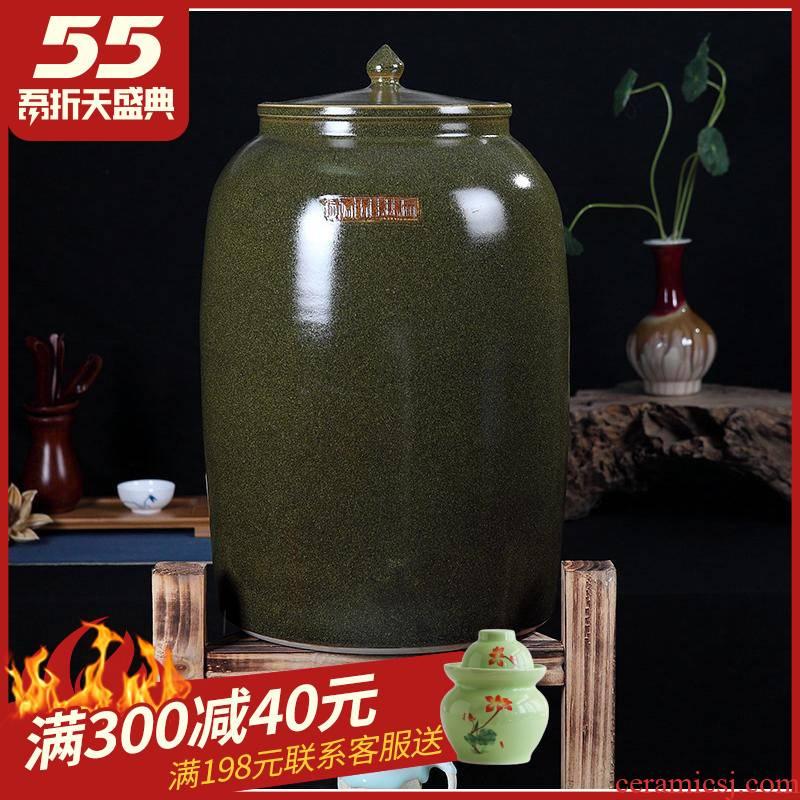 Jingdezhen ceramics with cover barrel ricer box tea oil cylinder jars at the end of the cylinder tank receives 50 kg 100 jins 30 kg