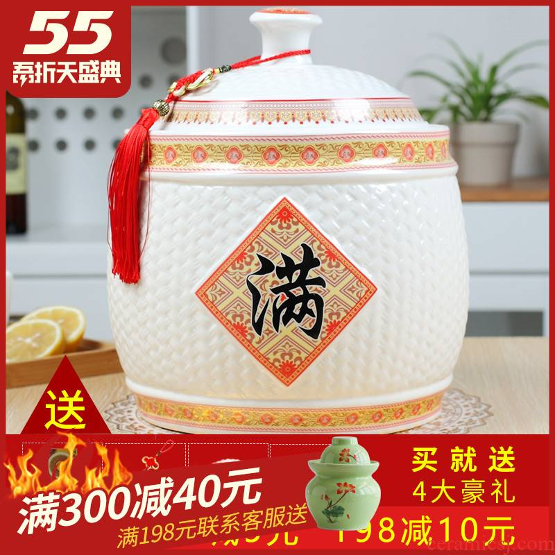 Jingdezhen ceramic barrel storage bins with cover seal 10 jins 20 jins home meters pot moistureproof insect - resistant ricer box