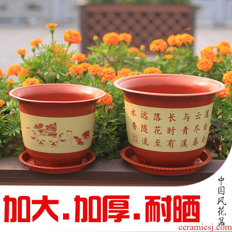 The new plastic flower POTS and flowerpot indoor miniascape of circular seedling prevention ceramic resin king flowerpot clearance