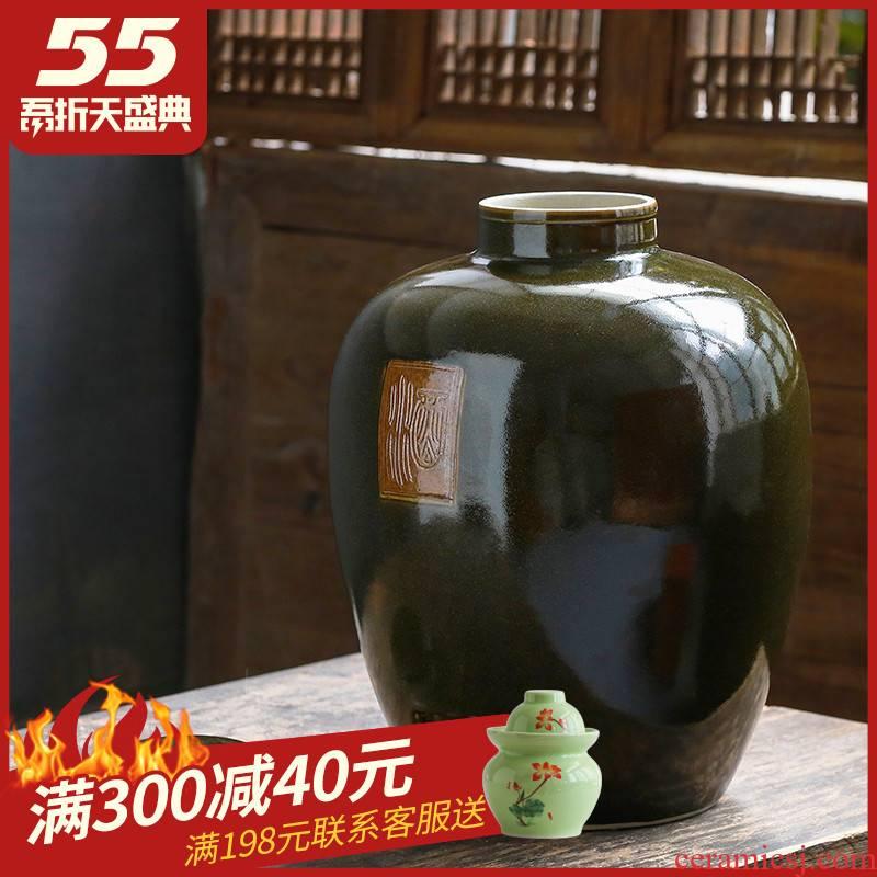 Jingdezhen ceramic jar it bottle home 50 kg pot 30 jins 20 seal storage tank jars restoring ancient ways