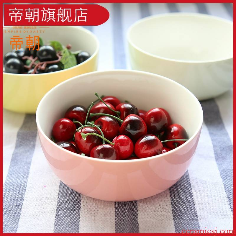 Ceramic bowl of rice bowls Nordic candy bowl pull color rainbow such always picking small microwave bowl of soup bowl of salad bowl