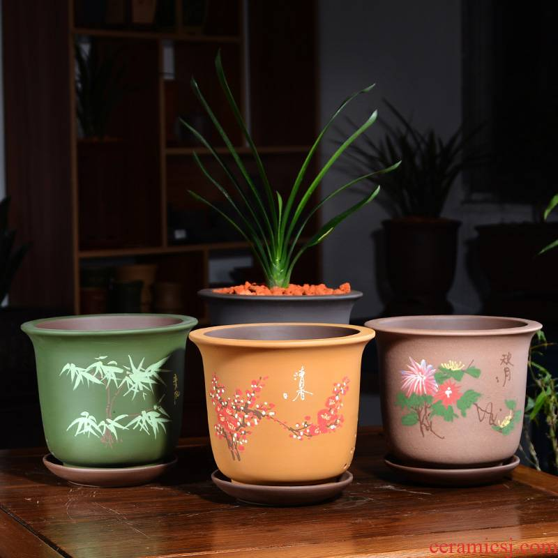 Clivia flower pot ceramic money plant bracketplant creative by patterns green plant classical Chinese wind yixing purple sand flowerpot