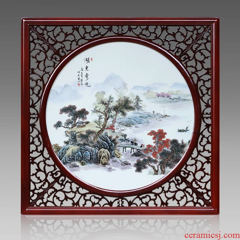 Jingdezhen ceramic central scroll the sitting room porch hotel mural Chinese box square window setting wall decorative porcelain plate painting