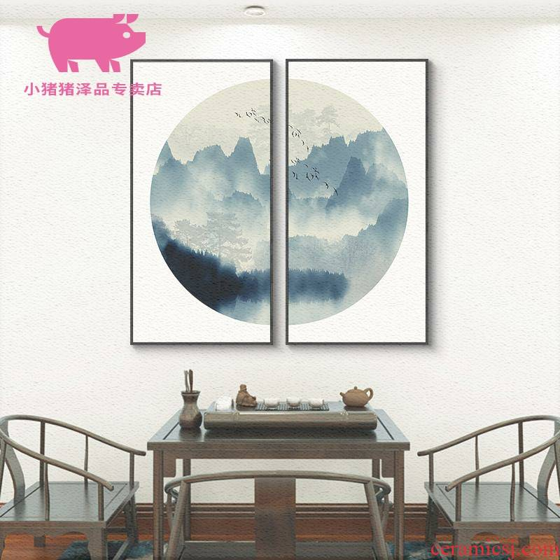 New Chinese style adornment teahouse ink sofa setting wall study zen landscape painting the sitting room porch Chinese hang a picture