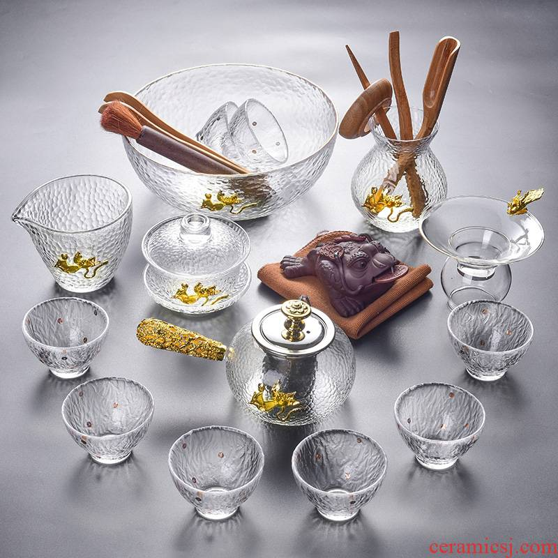 Tao good heat - resistant glass tea set suit household transparent glass tea tea of a complete set of white tea tea sets