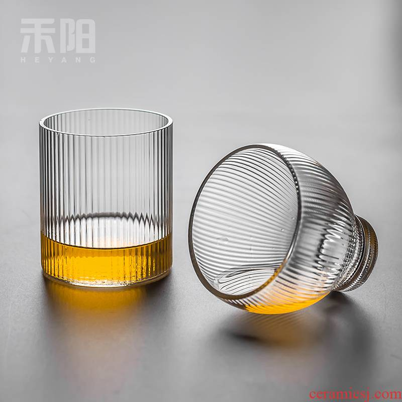 Send Yang glass thickening heat - resistant household large glass flower tea cups high - temperature explosion - proof high borosilicate glass