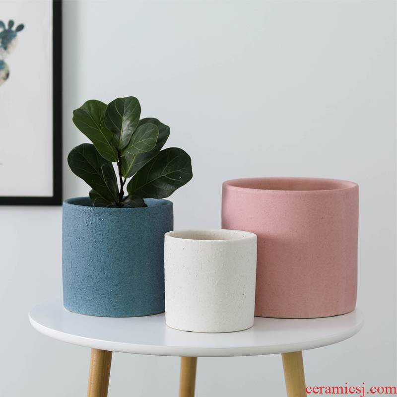 Round flowerpot ceramic Chinese wind extra large household indoor ground desktop other tiger orchid basin wholesale
