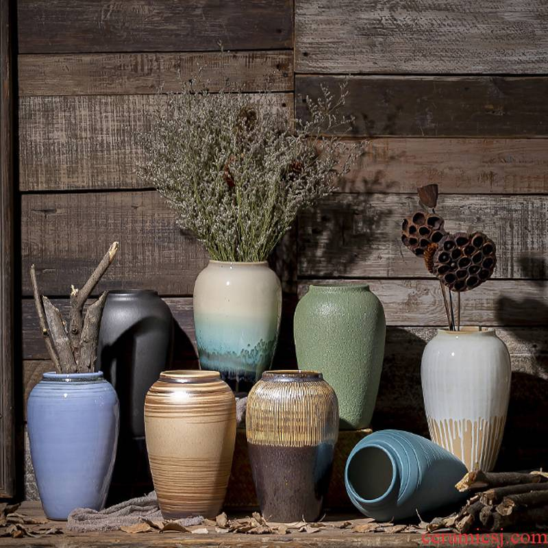 Restoring ancient ways of jingdezhen ceramic vase coarse pottery dry flower arranging flowers do old earthenware jar flower pot sitting room place soft decoration