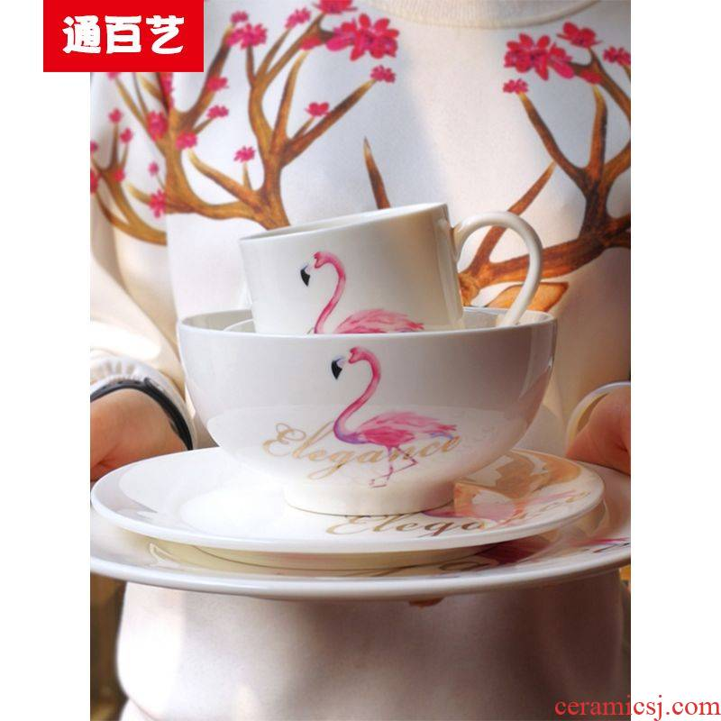 Tong baiyi ceramic plate suit dish dish home four Japanese creative breakfast steak dinner plate plate tableware