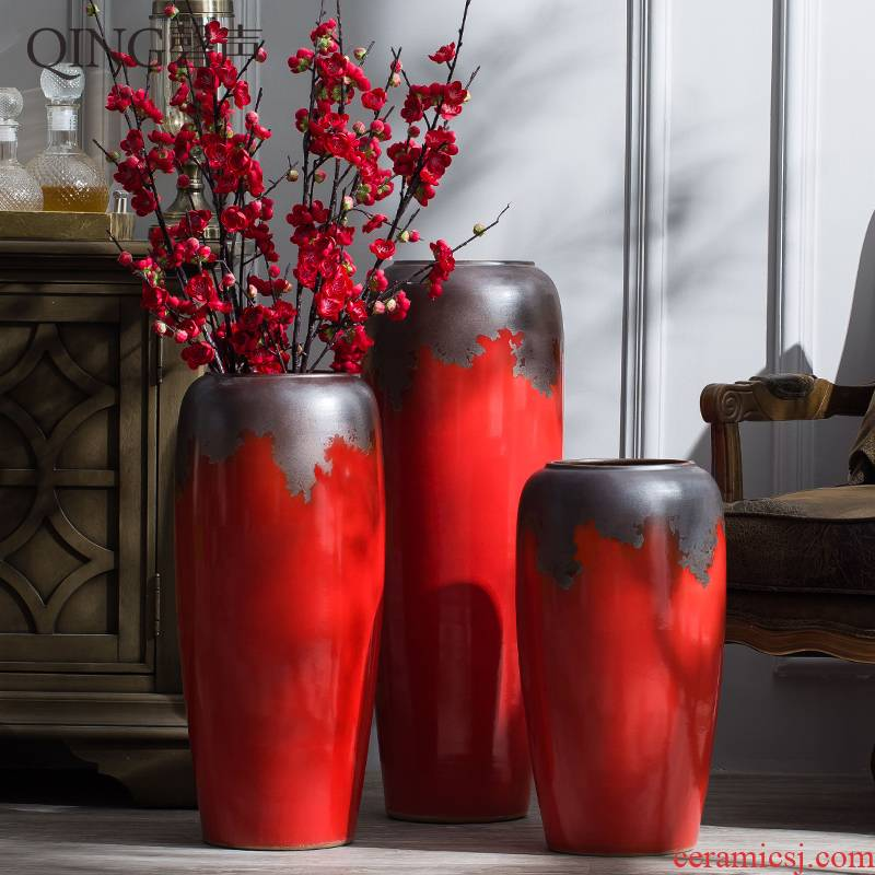 Jingdezhen ceramic furnishing articles of large Chinese red porcelain vase sitting room porch contracted flower arranging dried flower decorations