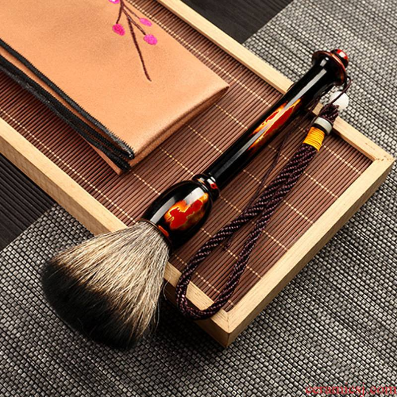 Morning high Chinese lacquer purple light wood real wood shai YangHuBi dropping the badger wash brush pen tea tea accessories