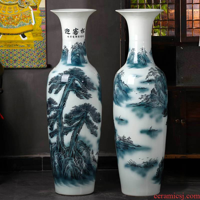 Jingdezhen ceramic guest - the greeting pine of large blue and white porcelain vase living room TV ark, hotel decoration high furnishing articles