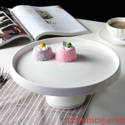 Wedding cake high tray with cover Europe type ceramic sweet snack tray photos show the table shelf