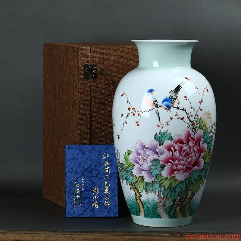 Jingdezhen ceramics hand - made pastel riches and honour auspicious peony flowers large vases, sitting room of Chinese style household furnishing articles