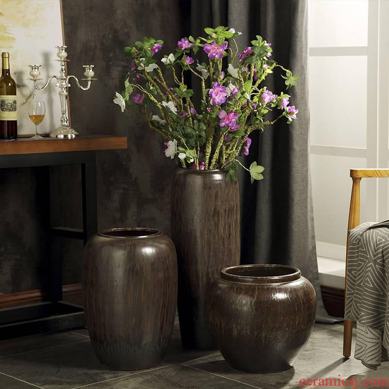 Ceramic VAT restoring ancient ways round the altar tank big flowerpot ground vases, flower arrangement sitting room place jar kind of tree