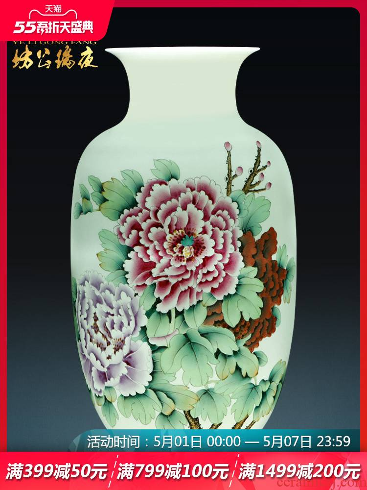 Jingdezhen ceramics vase furnishing articles hand - made blooming flowers, white gourd bottle of Chinese style living room TV cabinet ornament