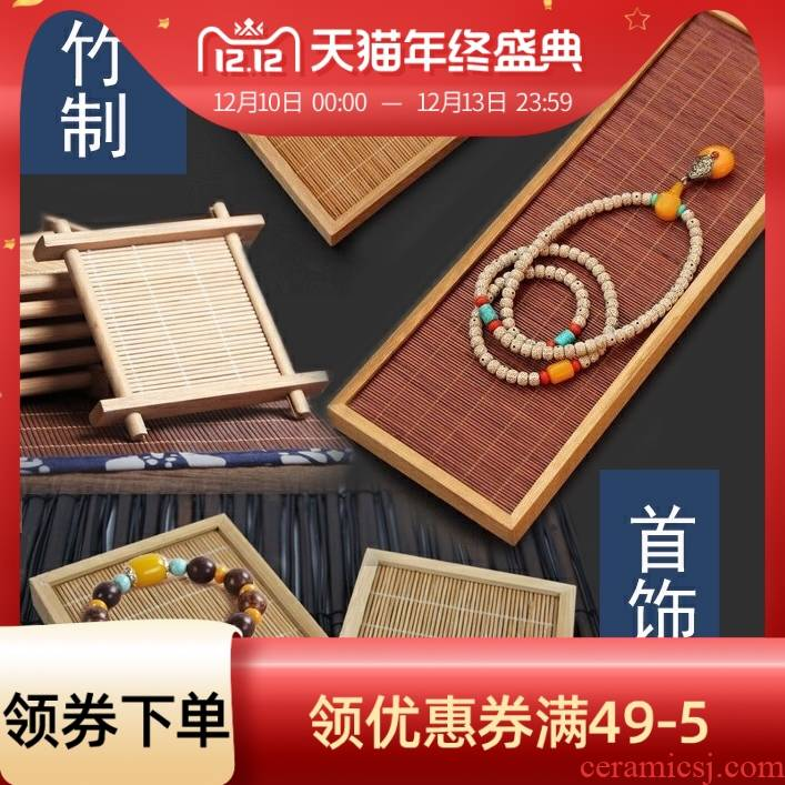 Collectables - autograph beeswax antique jade bamboo show the base bracket hand rosary furnishing articles counter display tray props