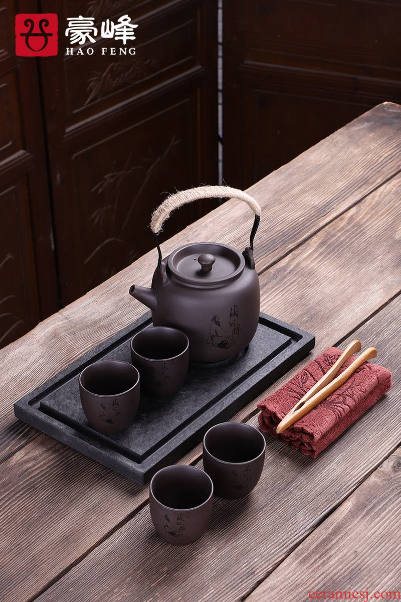 HaoFeng sharply stone kung fu tea set the whole set of domestic tea tray was contracted stone tea tray was small tea table