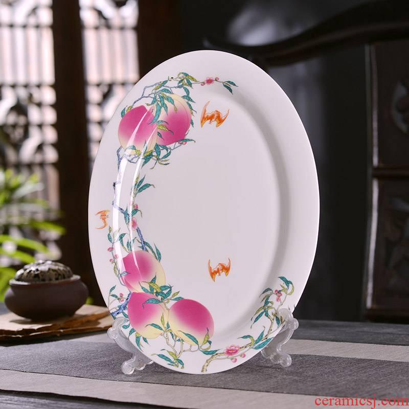 Jingdezhen ceramics elliptical fish plate Chinese style household ipads porcelain AGAR AGAR plate archaize peach steamed whole fish cutlery tray