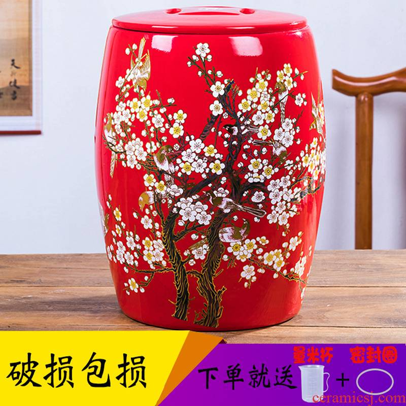 Festive red ceramic ricer box storage barrel oil tank storage sealed with cover ricer box home 30 jins of 50 pounds