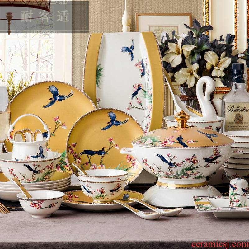 Hold to guest comfortable dishes suit household European - style up phnom penh jingdezhen ceramics tableware portfolio ipads bowls Chinese dish