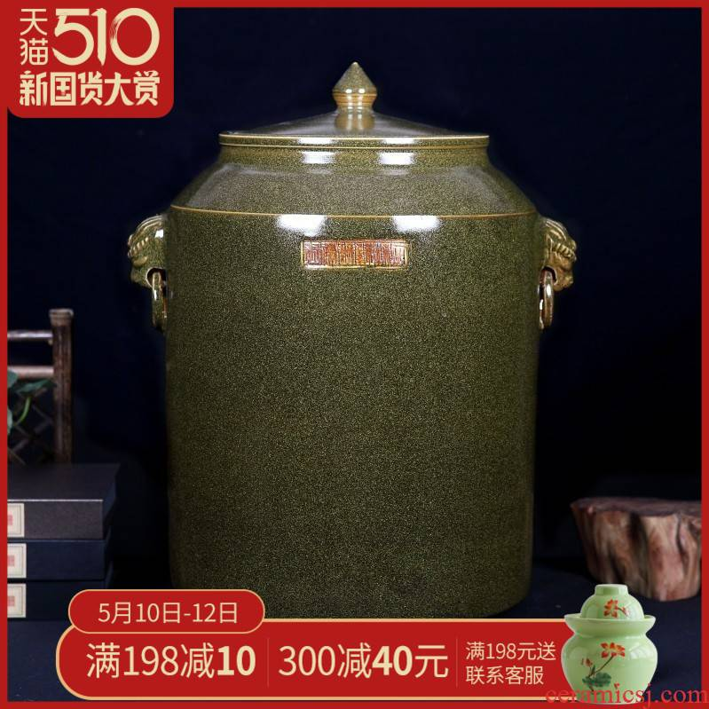 Ceramic barrel ricer box tea at the end of the cylinder insect tide jars cylinder tank sealing 50 kg 100 catties of jingdezhen