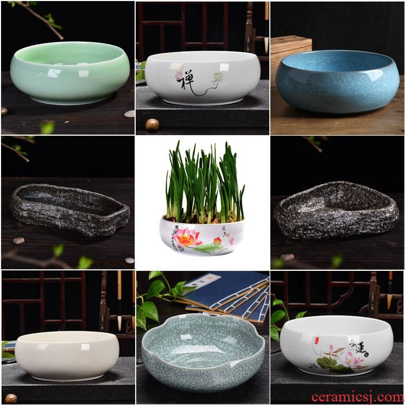 Refers to copper grass sleep flowerpot ceramic bowl lotus, fleshy contracted large household hydroponic plant containers