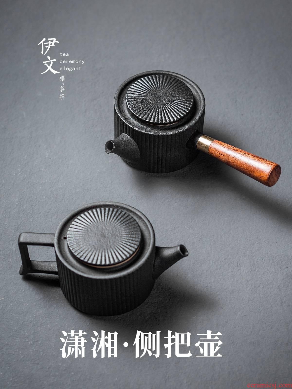 Evan ceramic side of black tea pot of Japanese contracted teapot household wood filtration single pot of hot tea