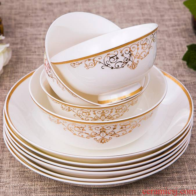 Antarctic treasure dishes suit ipads porcelain tableware dishes chopsticks European - style 56 yellow up phnom penh/head of household contracted combination