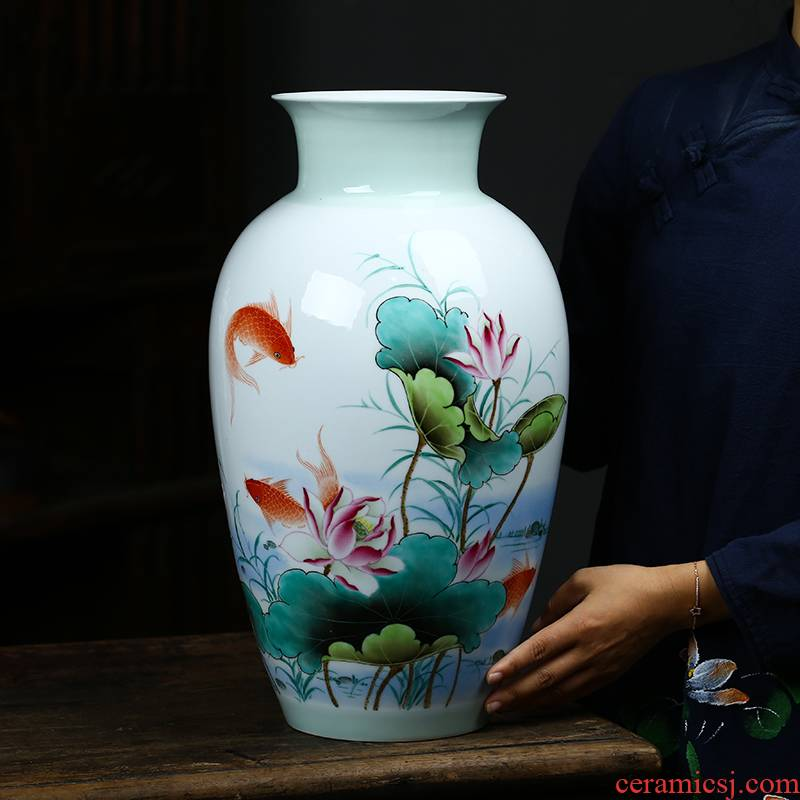 Jingdezhen ceramics vase famous fish hand - made lotus Chinese style living room large crafts home decoration furnishing articles
