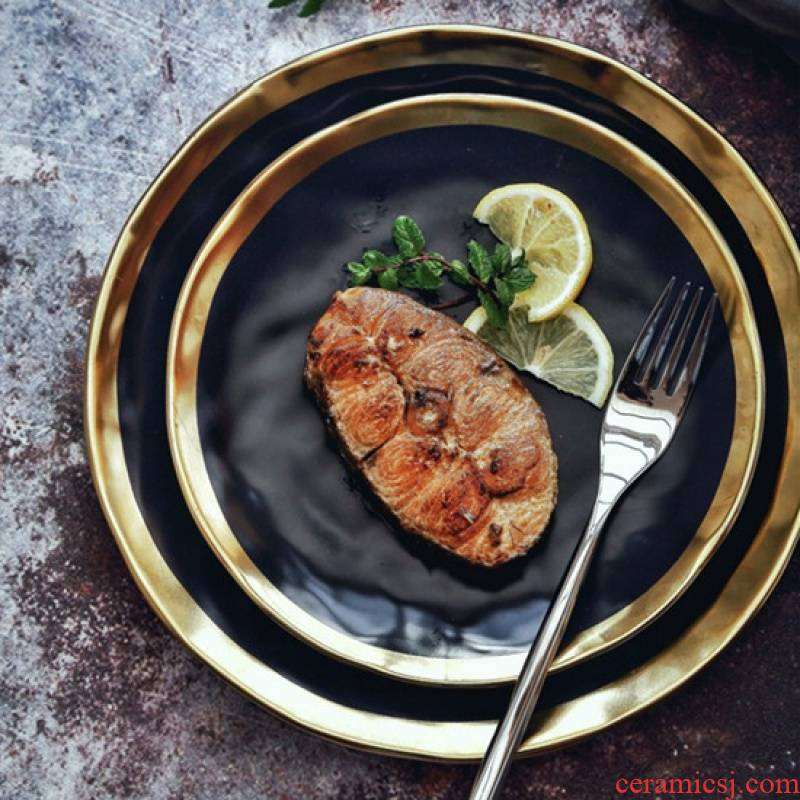 Jingdezhen high - grade series of black matte enrolled porcelain gold - plated rim western food steak creative new fruit plates