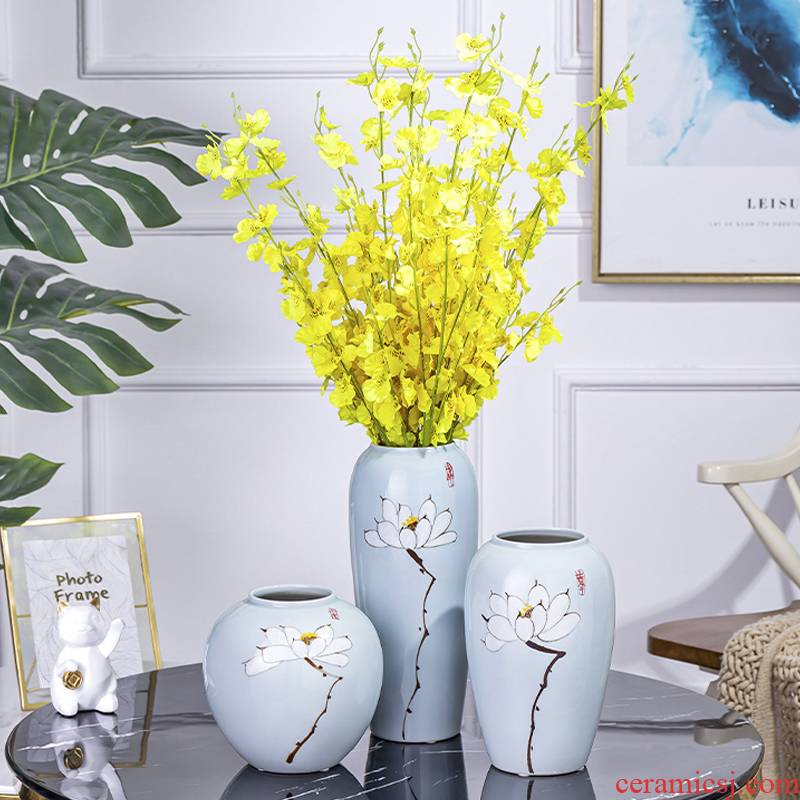 Jingdezhen ceramic vases, modern Chinese flower arranging furnishing articles dried flowers sitting room adornment porcelain TV ark, home decorations