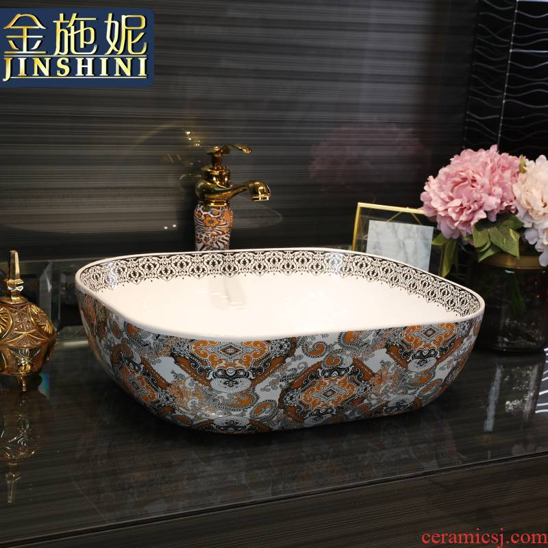 Gold cellnique ceramics stage basin rectangular basin hotel toilet hand washing dish wash a face to wash face basin in northern wind