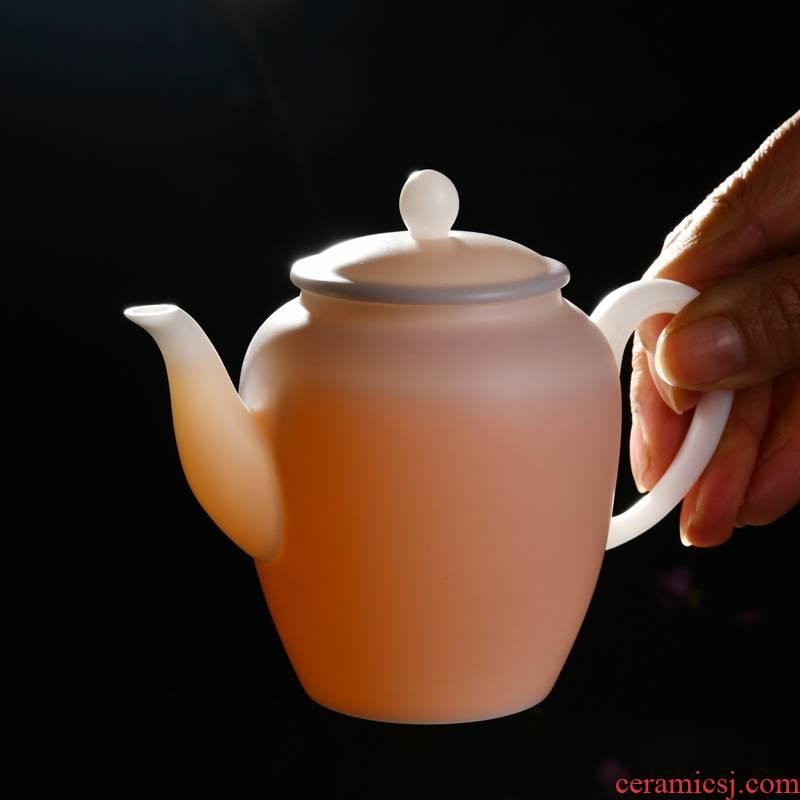 Xu ink checking ceramic tea set kung fu biscuit firing porcelain teapot jade porcelain teapot single pot of household contracted