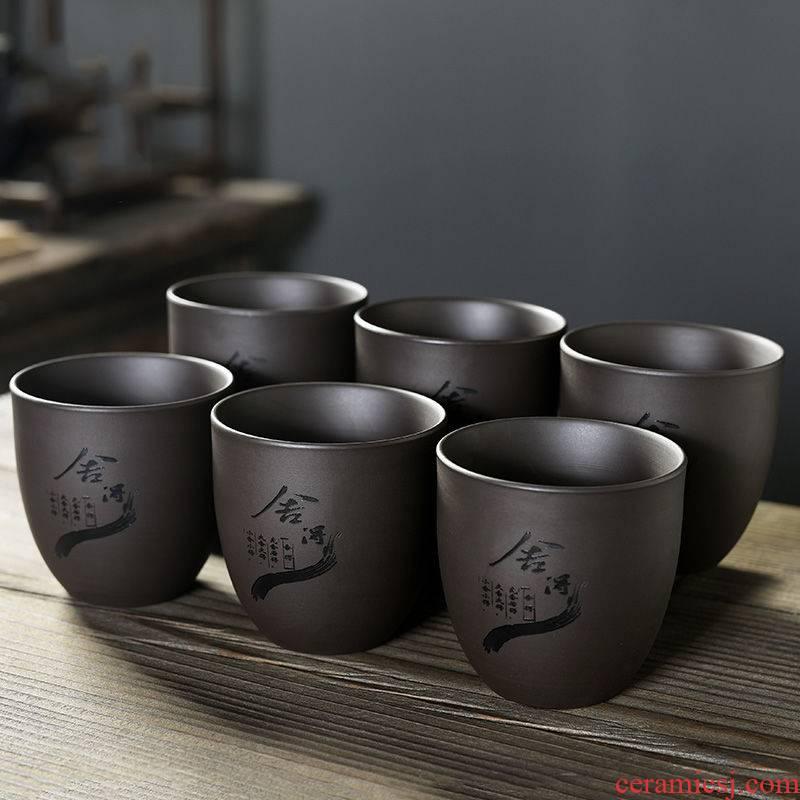 Large capacity purple sand tea set ceramic cups Large cup sample tea cup zen master kung fu cup single CPU