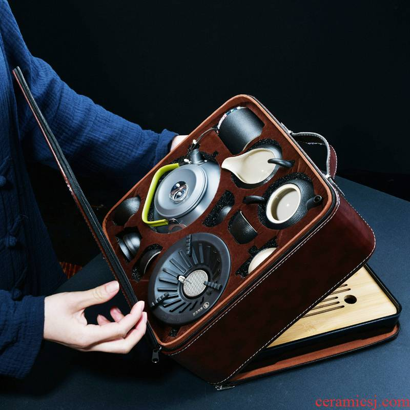 Xu ink is suing travel tea set suit portable kung fu tea set vehicle field with tea kettle boil tea stove