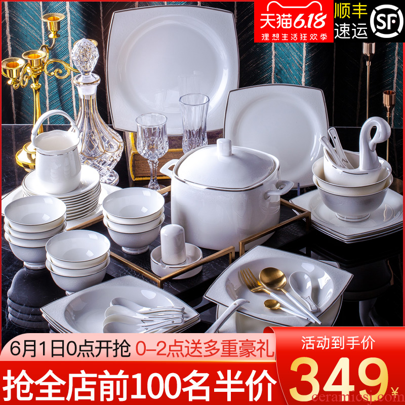 Tende jingdezhen dishes suit household European - style 60 head contracted ceramic dishes high - grade ipads China tableware portfolio