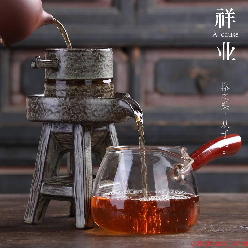 Auspicious industry) tea creative tea ceramic insulation character stone mill tea filters filter tea accessories tea filter