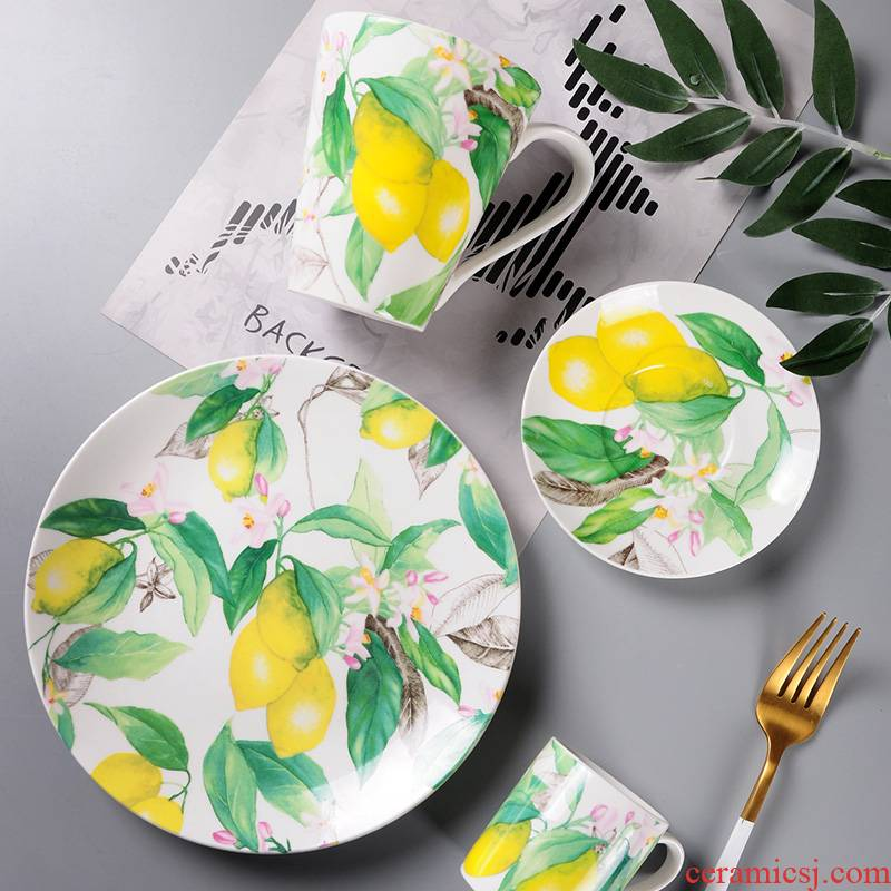 Spanish European fruit design ceramic tableware suit fresh mark cup of espresso cups and saucers dessert plates
