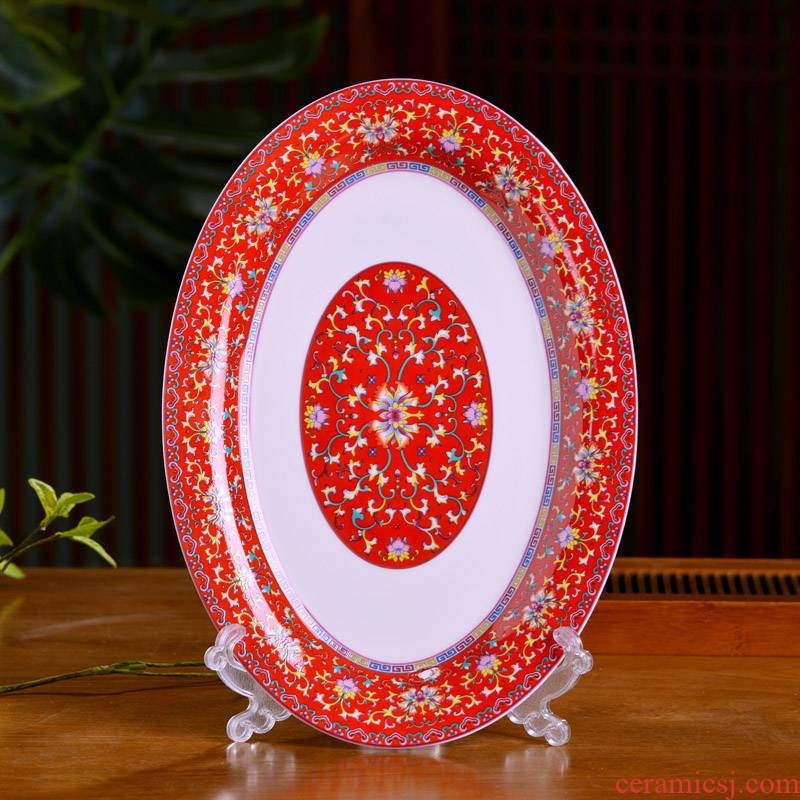The Fish dish of Chinese style household ipads porcelain of jingdezhen ceramics oval Fish dish plate archaize of famille rose porcelain tableware plate
