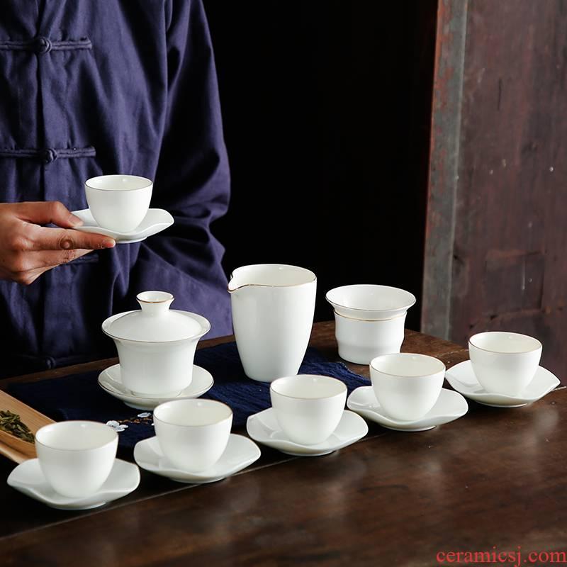 Bo yiu-chee dehua pure white jade porcelain kung fu tea set household white porcelain tea sets tea tureen tea cups of a complete set of customization